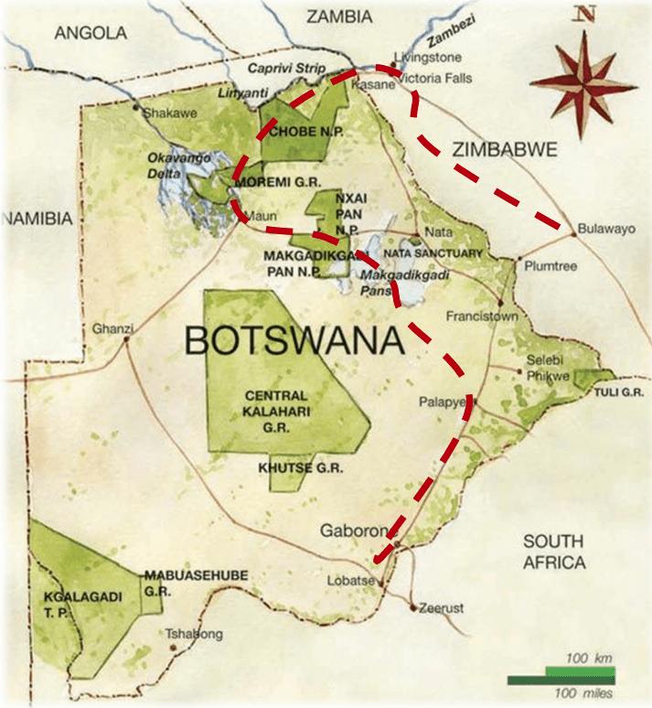 Botswana mapa - plan podróży